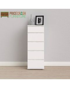 Nova Tall Narrow Chest of 5 Drawers in White at Price Crash Furniture. Matching furniture items available.
