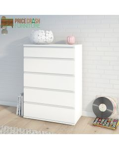 Nova Chest of 5 Drawers in White at Price Crash Furniture. Matching furniture items available.