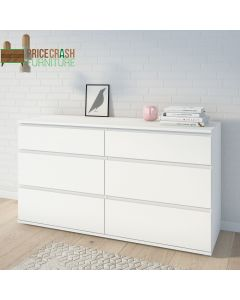 Nova Wide Chest of 6 Drawers (3+3) in White at Price Crash Furniture. Matching furniture items available.