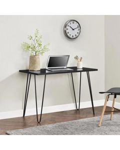 Owen Retro Laptop Desk Console Table in Black Oak Finish by Dorel