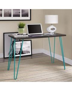 Owen Retro Laptop Desk Console Table in Espresso and Teal Finish by Dorel