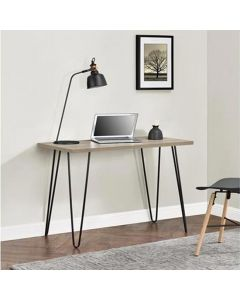 Owen Retro Laptop Desk Console Table in Rustic Oak Finish by Dorel