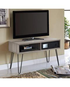Owen Retro TV Stand In Distressed Grey Oak by Dorel