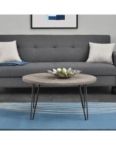 Owen Round Retro Coffee Table In Distressed Grey Oak by Dorel