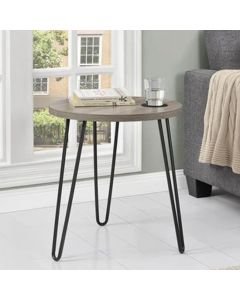 Owen Wooden Retro Round End Table In Distressed Grey Oak by Dorel