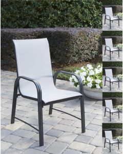 6-Pack Paloma Patio Dining Chairs, Light Grey Mesh, Grey Steel Frame, Cosco Outdoor