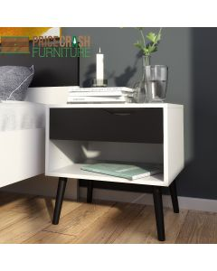 Oslo Bedside 1 Drawer in White & Black Matt at Price Crash Furniture. Matching items also available.