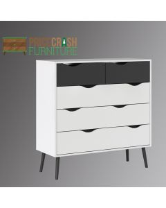 Oslo 5 Drawer Chest Of Drawers (2+3) in White & Black Matte. Matching items & free delivery at Price Crash Furniture.