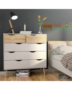 Oslo 5 Drawer Chest Of Drawers (2+3) in White and Oak at Price Crash Furniture. Matching items also available.