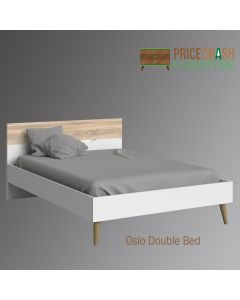 Oslo Euro Double Bed (140 x 200) in White and Oak