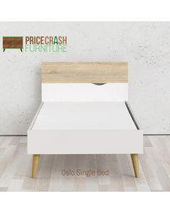 Oslo Euro Single Bed (90 x 200) in White and Oak at Price Crash Furniture. Matching items also available.