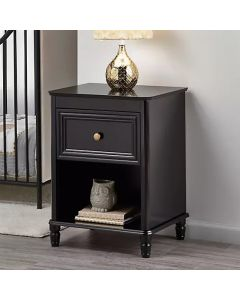 Piper 1 Drawer Bedside Table in Black by Dorel at Price Crash Furniture