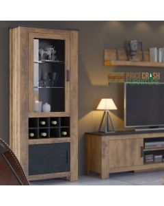 Rapallo 2 Door Display Cabinet with Wine Rack in Chestnut and Matera Grey at Price Crash Furniture. Matching items available