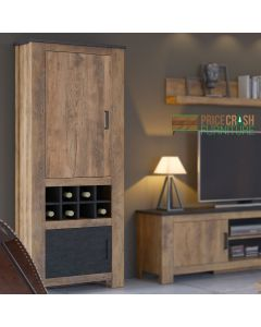 Rapallo 2 Door Cabinet with Wine Rack in Chestnut and Matera Grey at Price Crash Furniture. Matching items available