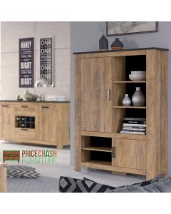 Rapallo 2 Door 5 Shelves Cabinet in Chestnut and Matera Grey at Price Crash Furniture. Matching items available