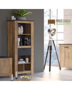 Rapallo 1 drawer bookcase in Chestnut and Matera Grey at Price Crash Furniture. Matching items available