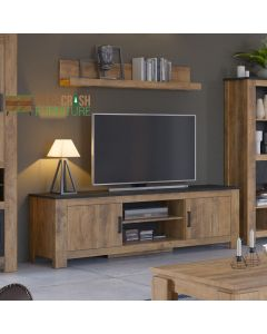 Rapallo 2 door 189 cm wide TV Cabinet in Chestnut and Matera Grey at Price Crash Furniture. Matching items available