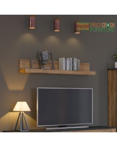 Rapallo 135 cm wide Wall Shelf in Chestnut at Price Crash Furniture. Matching items available