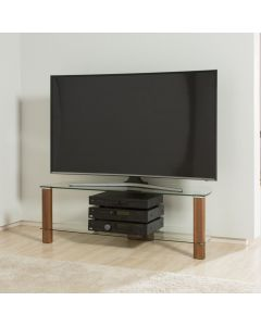Century ADCE1200-WAL Walnut and Clear Glass TV Stand by Alphason at Price Crash Furniture. Also in Light Oak and Clear or Walnut and Black Glass. Also in 1500 mm width
