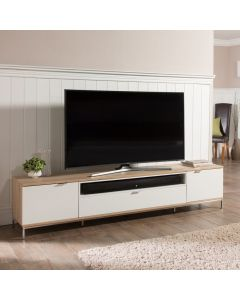 Chaplin ADCH2000 White & Light Oak TV Cabinet by Alphason at Price Crash Furniture. Other sizes and colours available