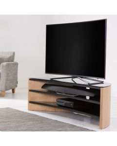 Finewoods 1400 Curve Corner TV Stand in Light Oak by Alphason at Price Crash Furniture. Also in Black Oak or Walnut