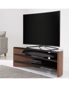 Finewoods 1400 Curve Corner TV Stand in Walnut by Alphason at Price Crash Furniture. Also in Black Oak or Light Oak