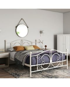 Bombay Metal Double Size Bed Frame in White by Dorel at Price Crash Furniture. Also in bronze. Also in Single or King Size