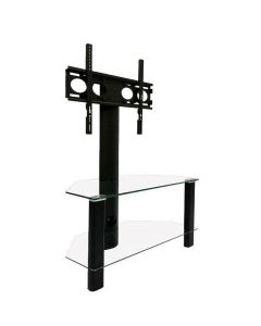 Century 800 Corner Cantilever TV Stand in Black and Glass by Alphason at Price Crash Furniture. Also in Oak and Glass or Walnut and Glass