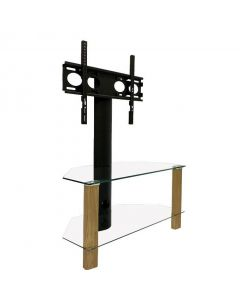 Century 800 Corner Cantilever TV Stand in Oak and Glass by Alphason at Price Crash Furniture. Also in Black and Glass or Walnut and Glass