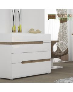 Chelsea Bedroom 4 Drawer Chest in White Gloss With an Oak Trim