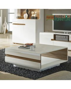 Chelsea Living Small Designer Coffee Table in White Gloss & Truffle Oak at Price Crash Furniture. Matching items available.
