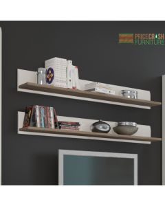 Chelsea Living Wall Shelf (Single) in White Gloss & Truffle Oak at Price Crash Furniture. Matching items available