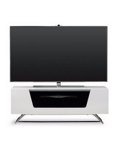 Chromium 2 100cm TV Stand in White by Alphason at Price Crash Furniture. Also in 120cm and 160cm wide. More colours available