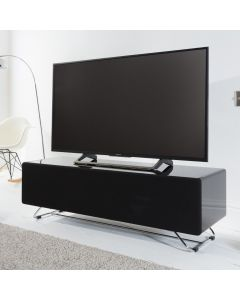 Chromium Concept 120cm TV Stand in Black by Alphason at Price Crash Furniture. Also in Grey or White