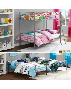 Convertible Single over Single Bunk Bed in Grey Metal by Dorel at Price Crash Furniture. Also in White or Black