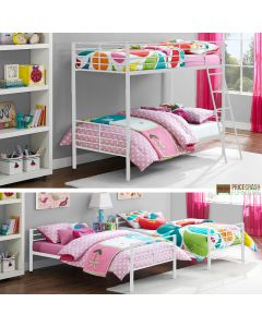 Convertible Single over Single Bunk Bed in White Metal by Dorel at Price Crash Furniture. Also in black or grey