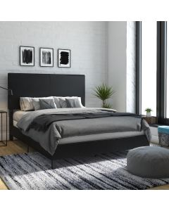 Janford Upholstered Double Bed in Black Faux Leather by Dorel at Price Crash Furniture. Also in Grey Fabric. Also in King size