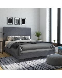Janford Upholstered Double Bed in Grey Fabric by Dorel at Price Crash Furniture. Also in black faux leather. Also in King size