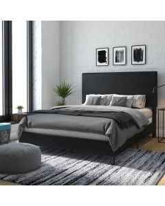 Janford Upholstered King Size Bed in Black Faux Leather by Dorel at Price Crash Furniture. Also in Grey Fabric. Also in Double size
