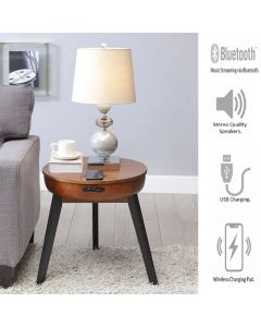 JF710 San Francisco Smart Lamp Table in Walnut with Black Legs by Jual at Price Crash Furniture. Matching items. Also in Oak or Walnut with Black Glass