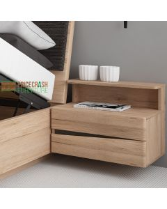 Kensington 2 Drawer Bedside Cabinet RH Drawer (incl wall fixing) in Oak at Price Crash Furniture. Matching items available.