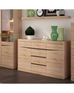Kensington Living 2 Door 3+3 Drawer Sideboard in Oak at Price Crash Furniture. Matching items available.
