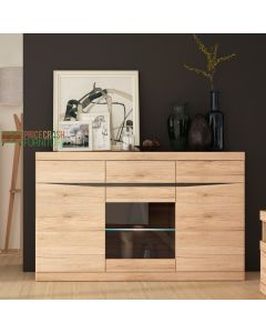 Kensington 3 Door 3 Drawer Glazed Sideboard in Oak at Price Crash Furniture. Matching items available.