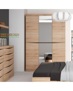 Kensington 3 Door Wardrobe with Centre Mirror Door in Oak at Price Crash Furniture. Matching items available.
