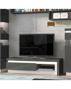Lyon 1 Drawer TV Cabinet with Open Shelf (inc LED Lighting) in Platinum/Light Grey Gloss at Price Crash furniture. Matching items available.