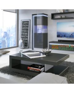 Lyon Designer Coffee Table In Platinum/Light Grey Gloss at Price Crash Furniture. Matching items available.