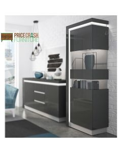 Lyon Tall Narrow Display Cabinet (RHD) (Including LED Lighting) In Platinum/Light Grey Gloss at Price Crash Furniture. Matching items available.