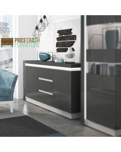 Lyon 2 Door 3 Drawer Sideboard (inc LED Lighting) in Platinum/Light Grey Gloss at Price Crash Furniture. Matching items available.