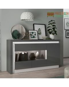Lyon 3 Door Glazed Sideboard (Inc LED Lighting) in Platinum/Light Grey Gloss at Price Crash Furniture. Matching items available.