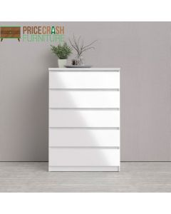 Naia Chest Of 5 Drawers in White High Gloss at Price Crash Furniture. Matching items also available.